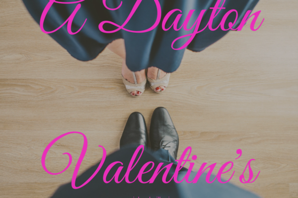 "an image of a people about to dance, with the text ""A Dayton Valentine"" superimposed"