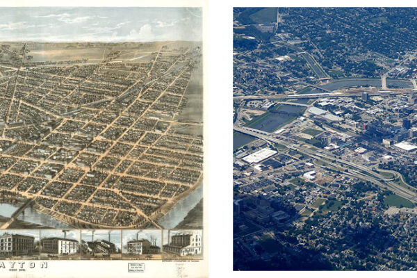 collage of aerial views of Dayton from 1870 an 2008